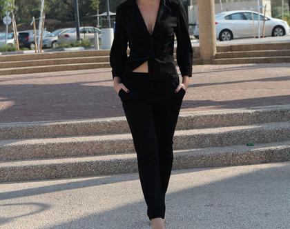 אזלה מהמלאי !חליפת נשים ,גקט, בגדי נשים ,מכנסיים ,בגדי מעצבים ,חליפת נשים שחורה ,מידות גדולות