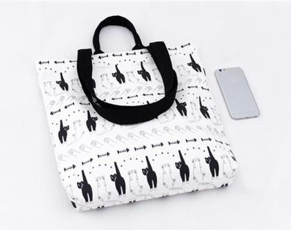 תיק בד black & white cats | תיק בד הדפסי חתולים שחור ולבן