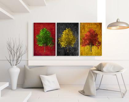 סט 3 תמונות קנבס בעיצוב מקורי - Colorful trees| תמונות מעוצבת לסלון | תמונות מעוצבות למשרד | תמונות של עצים צבעוניים ***השילוח חינם***