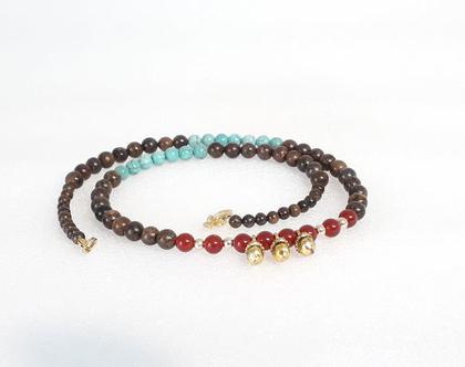 שרשרת טורקיז קארנליאן וברונזייט - gemstone necklece - שרשרת צבעונית - שרשרת אבני חן וגולדפילד