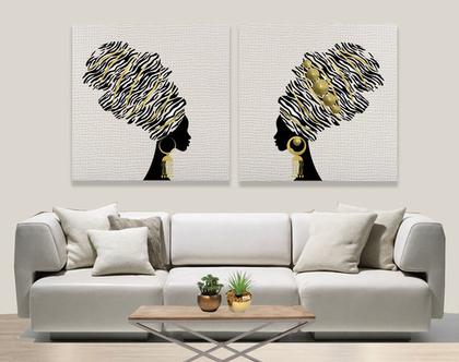 סט תמונות קנבס בעיצוב מקורי ♥B&W African duet | סט תמונות שחור לבן מעוצבות לבית | תמונה מעוצבת למשרד | תמונה של אשה אפריקאית