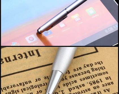 עט דק בצבע זהב עם גומיה טאץ' למסך הטלפון, אייפד....