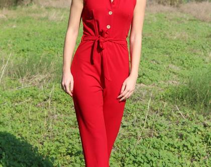 אוברול חליפה אדומה בגדי נשיםבגדי מעצבים בגד לאירוע בגד לערב