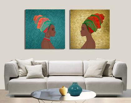 סט תמונות קנבס בעיצוב מקורי ♥ African duet | תמונה מעוצבת לבית | תמונה מעוצבת למשרד | תמונה של אשה אפריקאית