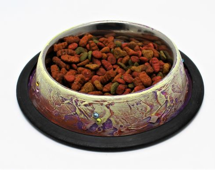 """קערת אוכל לכלב מעוצבות,עבודת יד אומנית מפורסמת 16 ס""""מ."""