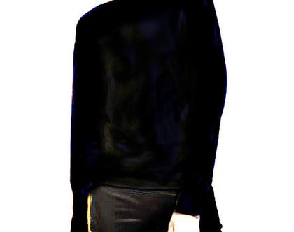 Ralph Lauren | סוודר דק שחור מנצנץ ראלף לורן