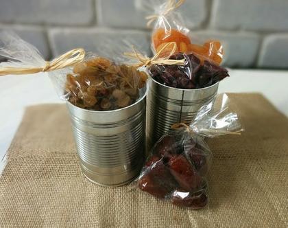 """מארז פחית פירות יבשים, מתנת טו בשבט, פירות יבשים בתוך פחית """"שימורים"""""""