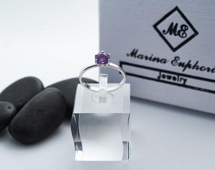 טבעת כסף עם אבן אמטיסט