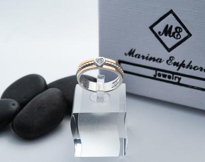 טבעת לב זהב בשילוב כסף