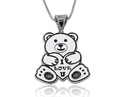 תליון דובי - שרשרת דובי - דובי - שרשרת דובי לאישה - שרשרת לנערה - שרשראות לילדות - דובי מיוחד - חריטה אישית - שרשרת חריטה - דובי לב - כסף