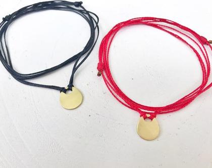 שרשרת מנעול זהב על חוט שחור   חוטי שעווה   זהב 9 k   שרשרת בעבודת יד