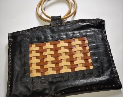 תיק מעור לנשים משולב עם עץ, תיק עבודת יד, תיק מעוצב לערב, תיק מעור שחור, תיק יחיד מסוגו, המחיר כולל משלוח