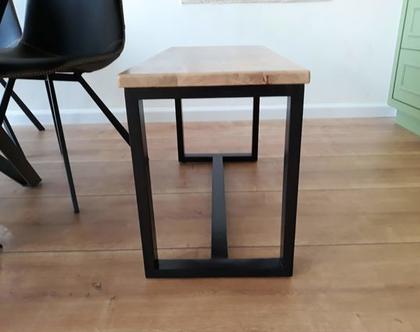 ספסל/שולחן מלבנינה מעץ אלון ובוק עם רגלי מלבן | ספסל לפינת אוכל | ספסל לאמבטיה | ספסל לחדר שינה | ספסל פסנתר