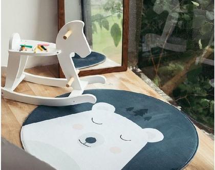 שטיח עגול דוב לחדר ילדים