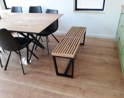 ספסל/שולחן נלסון מעץ אלון ובוק עם רגלי טרפז | ספסל לפינת אוכל | ספסל לאמבטיה | ספסל לחדר שינה | ספסל פסנתר