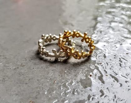 טבעת זהב פרחים טבעת עדינה טבעת דקה בעבודת יד