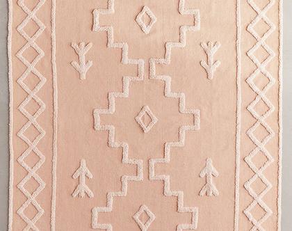 שטיח כותנה בוהו ורוד