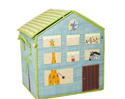 בית אחסון רפייה בצבע מנטה עם ג'ונגל וג'ירף RICE DK | L