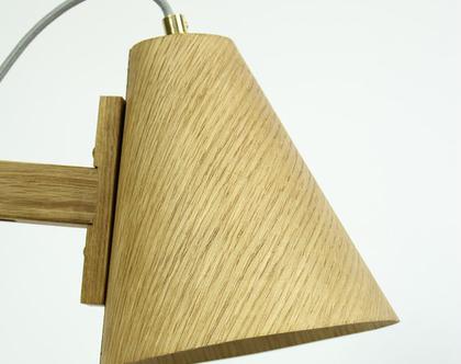 מנורת לילה רטרו מעץ אלון ופליז