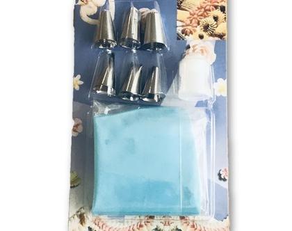 צנטרים לזילוף | סט 6 צנטרים ושקית זילוף סיליקון | שקית זילוף | אפייה ביתית | עיצוב עוגות | זילוף על עוגות | עוגות מעוצבות