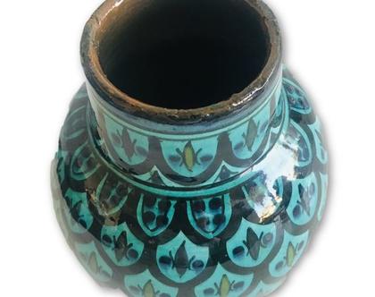 קרמיקה צבעונית מרוקאית | קרמיקה בעבודת יד | אגרטל קטן | עבודת יד מרוקאית | עיצוב לבית | עיצוב כפרי