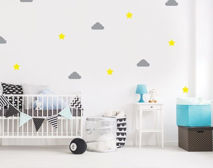 מדבקות קיר - עננים וכוכבים