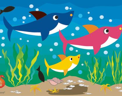 פלייסמנטים / פלייסמטס לשולחן: ״משפחת כרישים״ בהשראת ריקוד הכרישים
