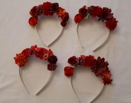 קשת פרחונית פרחים אדומים | כתר לפיה | תחפושת פיה | זר לראש | כתר לילדה | תחפושת נסיכה | זר יום הולדת | תחפושת לילדה | זר לשבועות