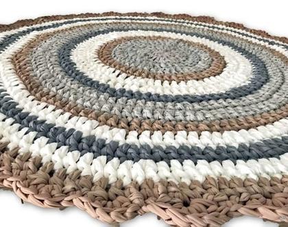 שטיח סרוג בגוונים נורדיים בהירים , לחדר הילדים ולכל פינה בבית , שטיח סרוג עגול בצבעים נורדיים בהירים ורגועים, שטיח לחדר ילדים,