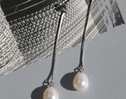 עגיל פנינה ארוך, כסף 925 עגילים ארוכים, פנינה, עגיל לכלה,