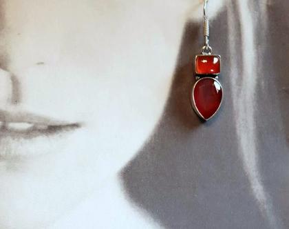 עגיל כסף ואבנים כתומות קרניליאן קלסיים בעיצוב מיוחד