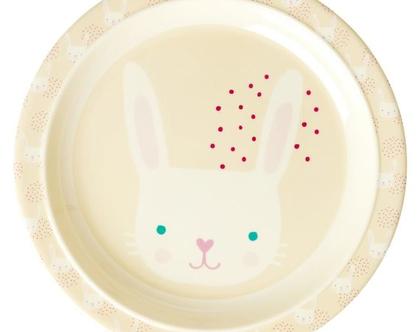 צלחת מלמין לילדים הדפס ארנב | רייס | RICE DK