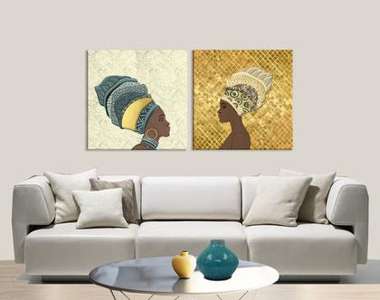 סט תמונות קנבס בעיצוב מקורי ♥ 3 African duet | תמונה מעוצבת לבית | תמונה מעוצבת למשרד | תמונה של אשה אפריקאית
