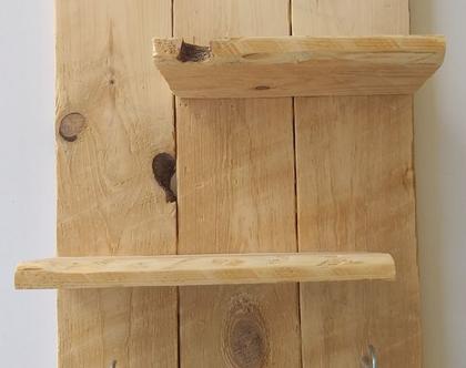 מדף ומתלה מעץ ממוחזר , משלוח חינם