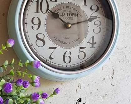 שעון קיר תכלת פס כסף