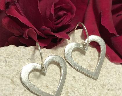 עגילים לב תלויים, עגילים מכסף לב פתוח, עגילי כסף לב, עגילי מתנה לאשה