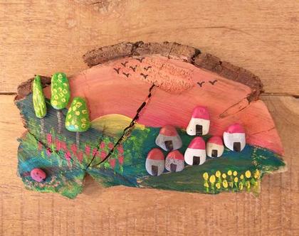 תמונה על גזע עץ. משלוח חינם