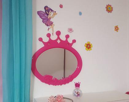 מראה, מראה לחדר ילדים, נסיכות, עיצוב לחדר ילדים, חדר ילדים, מראת נסיכות ורודה tks081