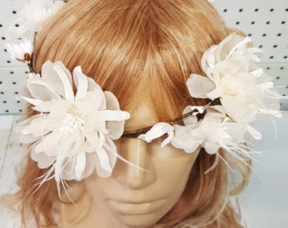 זר לראש לשבועות פרחי משי , זר לראש לגן זר פרחים לבן