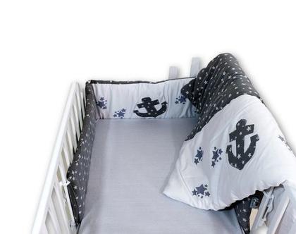 """סט מיטה לתינוק 3 חלקים דגם """"גל"""": מגן ראש, שמיכה וסדין. ניתן לקבל גם כסט עריסה, מיוצר בישראל מבית הני דויטש"""