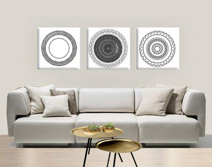 תמונות יפות לבית בצבע שחור ולבן| סט תמונות מעוצבות | תמונות מנדלה | סט תמונות שחור ולבן