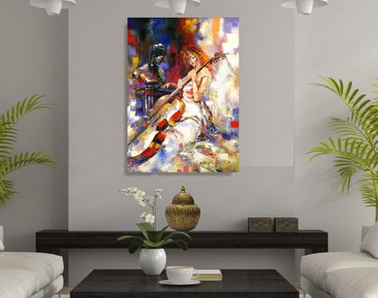 תמונת קנבס ♥ A woman playing the cello | תמונה לבתי יוקרה | תמונת אשה מנגנת על צ'לו