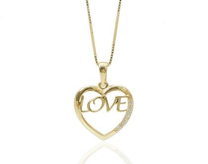 שרשרת לב עם כיתוב LOVE באנגלית (אהבה) וזרקונים בזהב 14 קאראט