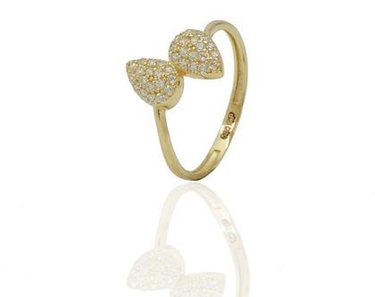 טבעת זהב טיפות וזרקונים לילדות מזהב 14 קאראט