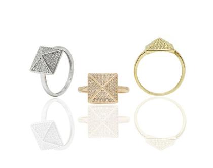 טבעת זהב מעוצבת בסגנון פירמידה משובצת זרקונים
