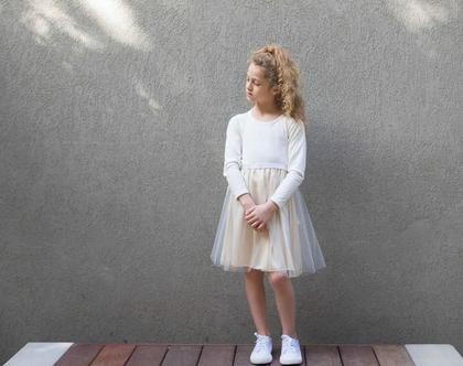 שמלת טול טופ לבן משולבת חצאית זהב , שמלת ולרי משולבת טול לבן