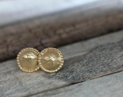 עגילי זהב צמודים עגולים עדינים ומיוחדים. מתאימים לכלה במיוחד / E-222