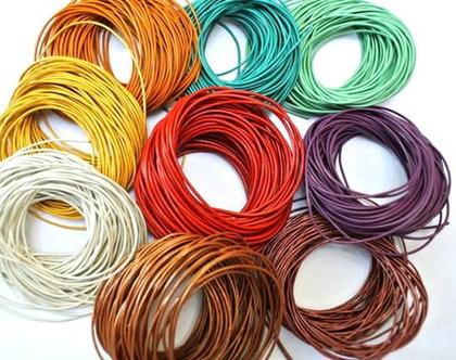 חוטי עור ב-9 צבעים, 10מ מכל צבע, אריזה של 90 מטר, חוטים לחריזה
