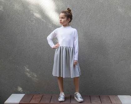שמלת לילדה לאירועים, שמלת ורוניק לבנה וכסופה.
