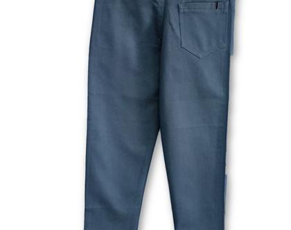מכנס כותנה כיס עגול צבע אפור קהה